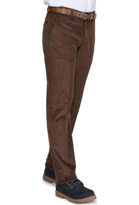 Buenza Kadıfe Pılesız Yan Cep Slım Fıt Pantolon - Kahverengi
