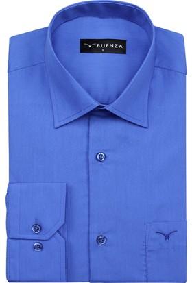 Buenza Coton Uzun Kol Gömlek - Mavi