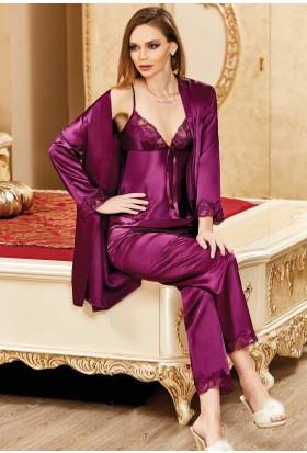 Nurteks 5942 Sabahlıklı Saten Pijama Takımı
