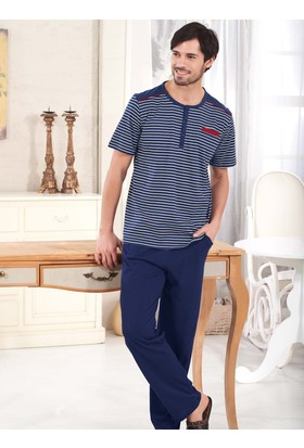 Polat 608 Çizgili Kısa Kol Erkek Pijama Takımı