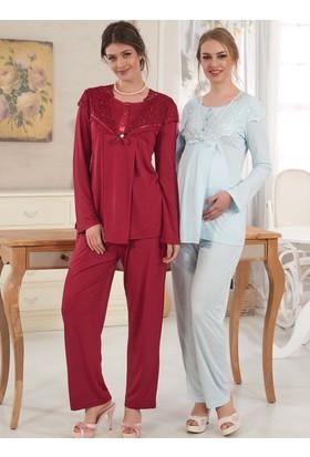 Rozalinda 1710 Hamile Lohusa Uzun Kol Pijama Takımı