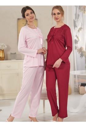 Rozalinda 1715 Klasik Dantelli Uzun Kol Kadın Pijama Takımı