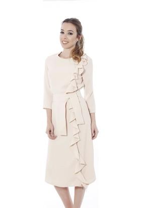 Soie Design Bej Rengi Volanlı Kadın Elbise