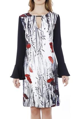 Soie Design Damla Yaka Tablo Baskılı Volanlı Kadın Elbise