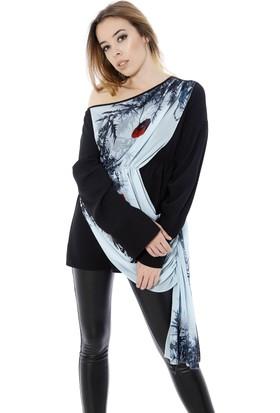 Soie Design Düşük Omuz Önü Şifon Tablo Baskılı Kadın Bluz