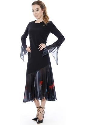 Soie Design Kadın Etek Ucu Kollar Tablo Baskılı Kadın Elbise