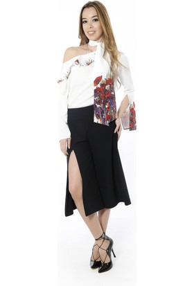 Soie Design Fularlı-Tablo Baskılı Düşük Omuz Kadın Bluz