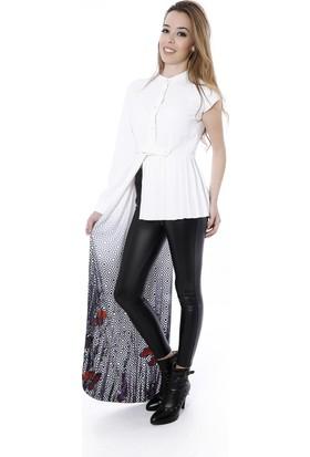 Soie Design Hakim Yaka Sağ Yanı Uzun Tablo Baskılı Kadın Gömlek