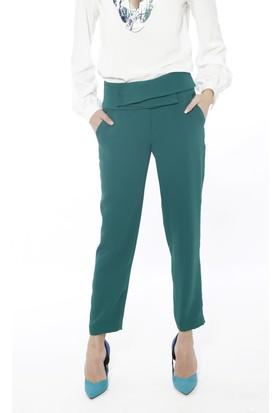 Soie Design Katlı Kemer Detaylı Kadın Pantolon