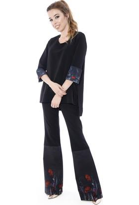 Soie Design Kol Manşeti Tablo Baskılı Yırtmaçlı Kadın Tunik