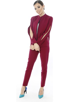 Soie Design Mürdüm Beyaz Biyeli Kadın Ceket