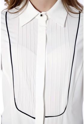 Soie Design Nervürlü Biyeli Kadın Gömlek