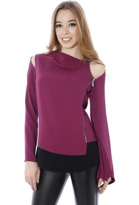 Soie Design Omuz Tokalı Yan Fermuarlı Kadın Bluz
