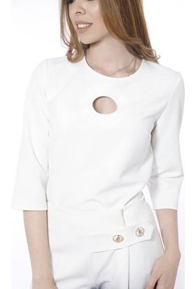 Soie Design Önü Yuvarlak Dekolteli Truvakar Kol Kadın Bluz