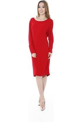 Soie Design Sırt Dekolteli Kırmızı Kadın Elbise