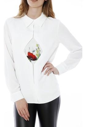 Soie Design Tablo Baskılı Baklava Detaylı Erkek Yaka Kadın Gömlek