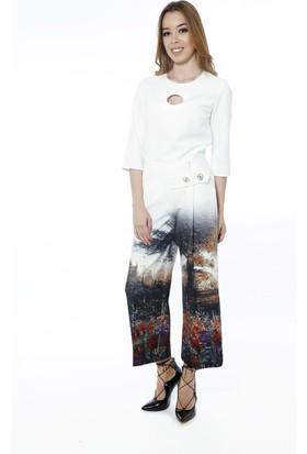 Soie Design Tablo Baskılı Kapri Kadın Pantolon