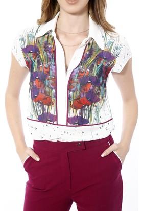 Soie Design Tablo Baskılı Şifon Biyeli Düşük Kollu Kadın Gömlek