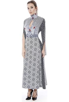 Soie Design Tablo Desenli Uzun Kadın Elbise