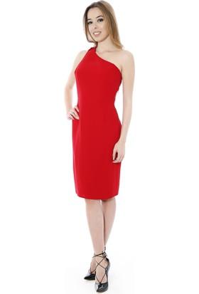 Soie Design Tek Omuz Kırmızı Kadın Elbise