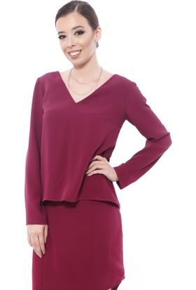 Soie Design V Yaka Arkası Bağcıklı Kadın Bluz