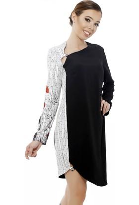 Soie Design Yaka Kadın Etek Birit Düğmeli Tablo Baskılı Kadın Elbise