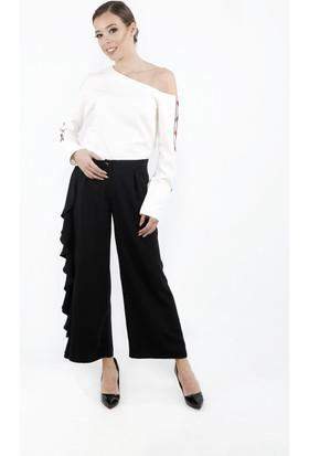 Soie Design Yan Paça Volanlı Kadın Pantolon