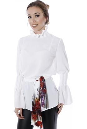 Soie Design Yanları Uzantılı Tablo Baskılı Kadın Bluz
