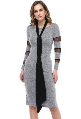 Sense Havuz Yaka Uzun Kollu Kollari Tül Garnili Elbise Elb31081