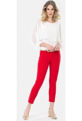 İroni Kemerli Dar Paça Kırmızı Pantolon - 1581-891A Kırmızı