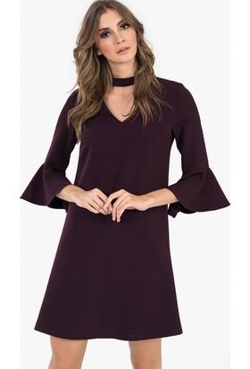 İroni Choker Yaka Volanlı Elbise - 5151 - 891 Mürdüm