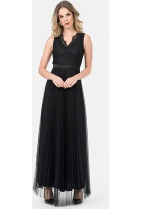 İroni Üstü Dantel Pliseli Uzun Siyah Abiye Elbise - 5175-1149 Siyah