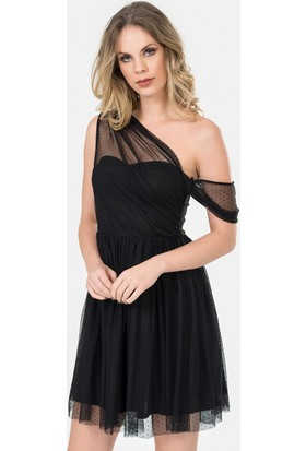 İroni Puantiyeli Tüllü Mini Siyah Abiye Elbise - 5177-1231 Siyah