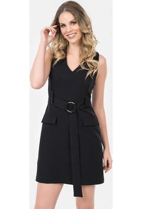 İroni Kemerli V Yaka Siyah Elbise - 5172-891 Siyah