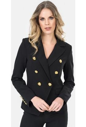 İroni Altın Düğmeli Siyah Blazer Ceket - 6450-891 Siyah