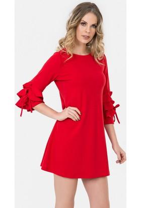 İroni Kolları Fırfırlı Kırmızı Elbise - 5173-1202 Kırmızı
