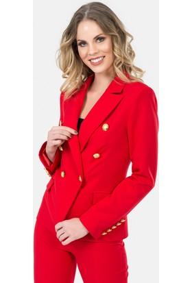 İroni Altın Düğmeli Kırmızı Blazer Ceket - 6450-891 Kırmızı