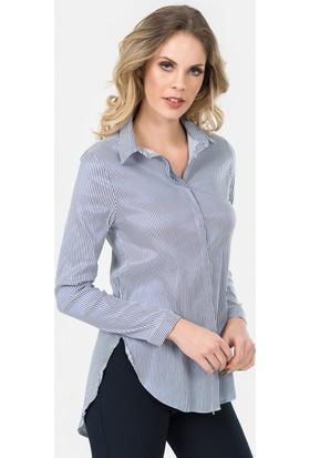 İroni Çizgili Lacivert Gömlek Tunik - 3948-1228 Lacivert