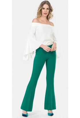 İroni Likralı İspanyol Paça Yeşil Pantolon - 1615-891A Yeşil