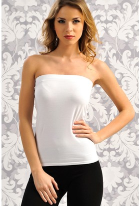 Anıl Beyaz Straplez T-Shirt AN8528