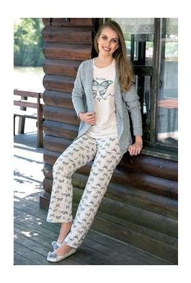 Anıl Gri 3'lü Kelebek Desenli Uzunkol Yelek Pijama Takım AN9472