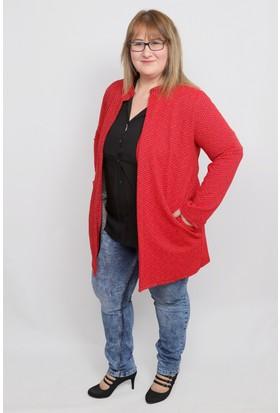 Mylife Büyük Beden Siyah Desenli Kırmızı Ceket