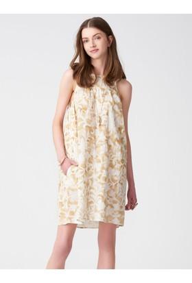 Xint Desenli Askılı Keten Elbise