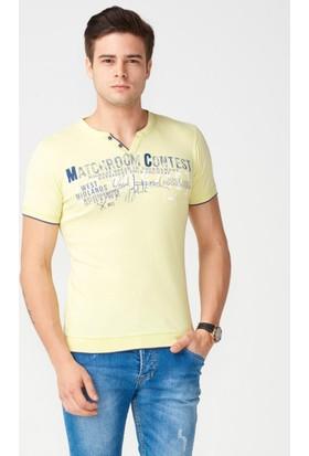 Mcl Patlı Yaka Baskılı Tshirt