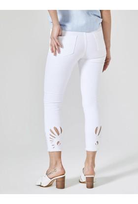 Xint Yüksek Bel Paçaları Nakışlı Pantolon