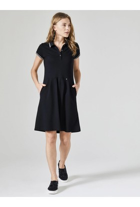 Xint Polo Yaka Kloş Cepli Elbise