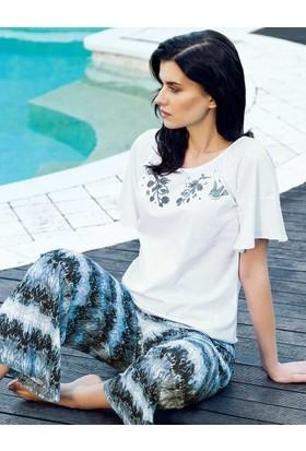 Şahinler Desenli Kadın Pijama Takımı Beyaz MBP24029-1