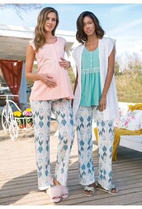 Yeni İnci BPJ1292 Hamile Viskon Üçlü Kadın Pijama Takımı