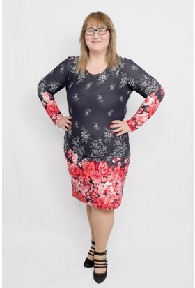 Vip Class Etek Ksıımları Mercan Çiçekli Elbise