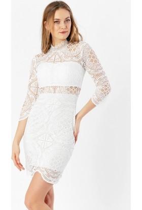 Eka Dantel Arkası Fermuarlı Elbise